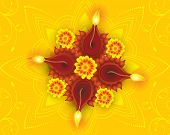 image of rangoli  - abstract artistic diwali on yellow rangoli discount card vector illustration - JPG