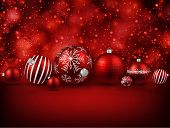 image of balls  - Set of red christmas balls background - JPG