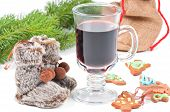 Red mulled wine and different decorations
