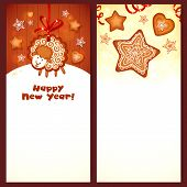 Sweet gingerbread vector Christmas banners