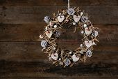 Decorated Christmas Wreath White Birch Hearts  And Pine Cones Old Rustic Background
