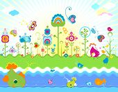 retro design for kids with fishes and flowers; illustration
