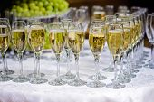 Glasses of champagne waiting for guests