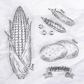 Vegetables Corn, Peas, Potatoes Vintage