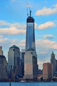 NEW YORK CITY - MARCH 20: One World Trade Center (Freedom Tower) at sunset on March 20, 2013 in New