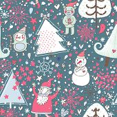 Christmas and New Year background with fir tree, Santa, Snowman, Penguin and funny bear in holiday c