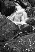 Landscape Of Becky Falls Waterfall In Dartmoor National Park England  Black And White