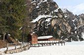 frozen lake Braies at Dolomites