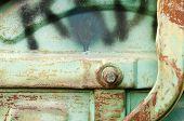 picture of dust-bin  - Detail of old rusty blue metal dust bin - JPG