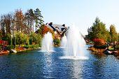 Novi Petrivtsi, Ukraine - October 14: The Fountain And