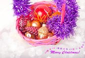 Merry Christmas Postcard With Basket