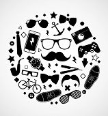 Set of fashionable men's accessories. vector illustration backdrop Vector template for design
