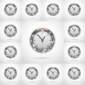 Set Vector  Illustrations Of Clock , Red Arrow Specifies In A Word Business And Other Words