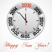 Vector  Illustration Of Clock , Red Arrow Specifies In A 2015 New Year