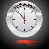 Vector  Illustration Of Clock , Red Arrow Specifies In A Word Halloween
