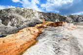 stock photo of mammoth  - Mammoth hot springs at Yellowstone National Park - JPG