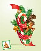 Card With Xmas Gingerbread, Candy And Fir-tree Branches. Hand Written Text Merry Christmas. Elements