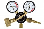 image of manometer  - Gas pressure regulator with manometer isolated with clipping path - JPG