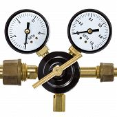 picture of manometer  - Gas pressure regulator with manometer isolated on white background - JPG