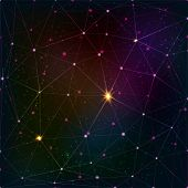Abstract triangle grid on cosmic background