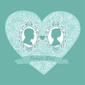 Vector Wedding Card. Ornamental heart. Flowers