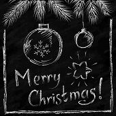 Merry Christmas lettering and balls in naive chalkboard style
