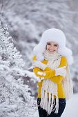 Portrait of the beautiful young woman in park in the winter.