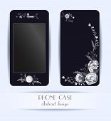 Style phone case. Print with beautiful flowers, leaves and floral elements.