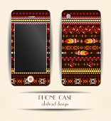 Style phone case. Print with abstract feathers, ethnic pattern.