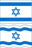 Flat and waving Israeli Flag. Vector