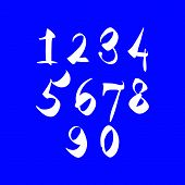 Scribble handwritten numbers, white cursive paint brushed digits.