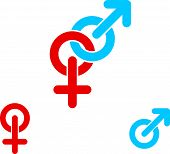 Male and female symbols combination icon isolated.