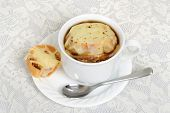 top view french onion soup