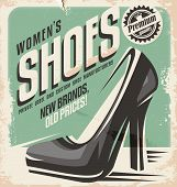 foto of shoe  - Retro shoes store promotional poster design - JPG