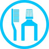 Tooth brush and paste icon isolated. Dental hygiene