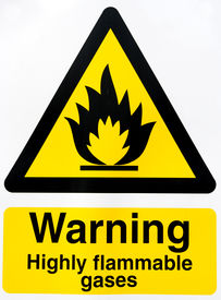 image of gases  - warning sign highly flammable gases on white background - JPG