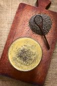 foto of salvia  - Overhead shot of mango pudding with chia seeds  - JPG