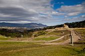 Landscape shot of Ingapirca important inca ruins in Ecuador