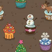 Christmas cupcake pattern