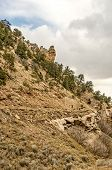 picture of sagebrush  - Blending into the hill in the Spring Canyon ghost town are the blocked off entrance to a mine and part of a stone building - JPG