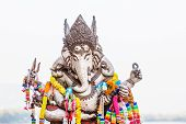 foto of ganesh  - A closeup the face of Ganesh statue - JPG