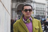 Man Posing Outside Gabriele Colangelo Fashion Show Building For Milan Women's Fashion Week 2015