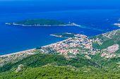 View On Mountain, Sea, Budva And Sveti Nikola Island