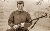 stock photo of army  - Man in Red Army form of world war two - JPG