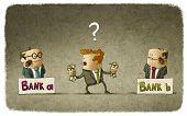 image of money  - Man choosing banker to deposit her money - JPG