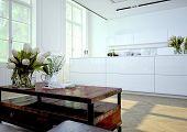 Luxurious kitchen. 3d rendering