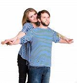 Happy Couple In Love Hugging
