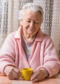 Portrait Of Old Woman With Cup Of Tea