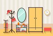 stock photo of clothes hanger  - Vector hall interior - JPG