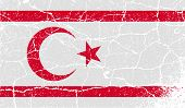 Flag Of Turkish And Northern Cyprus With Old Texture. Vector